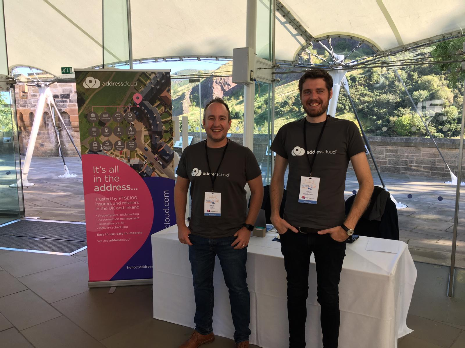 Mark and I representing Addresscloud at FOSS4G UK Edinburgh (2019)